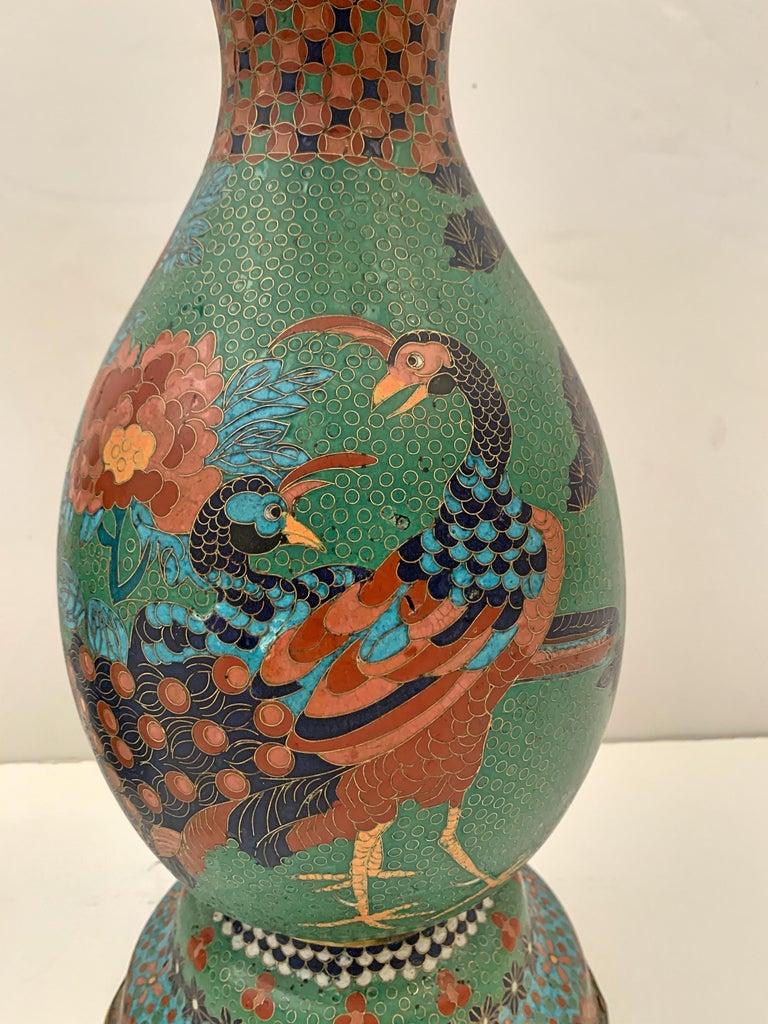 19th Century Large Pair of Japanese Cloisonne Peacock Vases Attributed to Kaji Tsunekichi For Sale