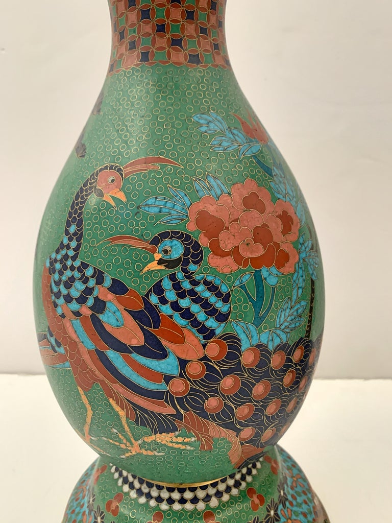 Copper Large Pair of Japanese Cloisonne Peacock Vases Attributed to Kaji Tsunekichi For Sale