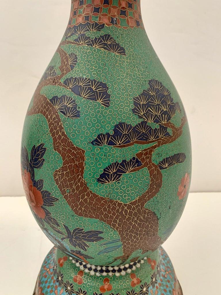 Large Pair of Japanese Cloisonne Peacock Vases Attributed to Kaji Tsunekichi For Sale 2