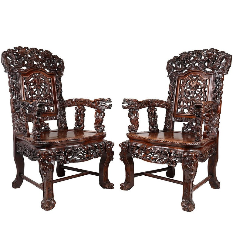 Large Pair of Late 19th Century Chinese Hardwood Armchairs