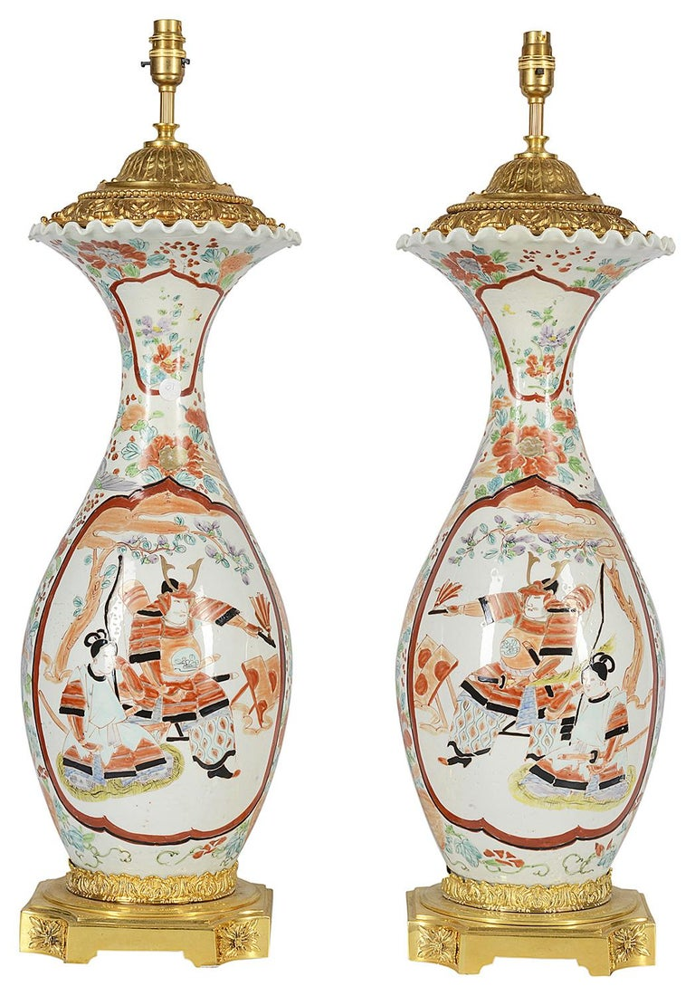Hand-Painted Large Pair of Late 19th Century Japanese Kutani Vases or Lamps For Sale