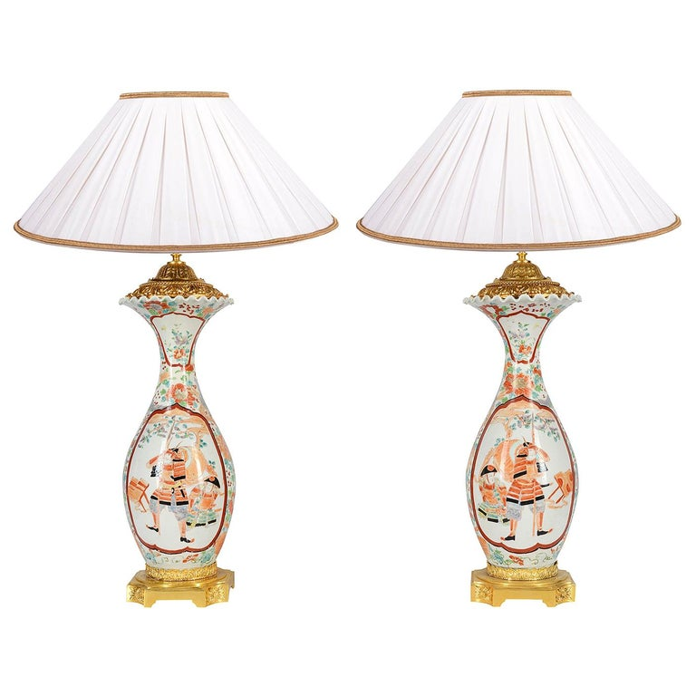 Large Pair of Late 19th Century Japanese Kutani Vases or Lamps For Sale