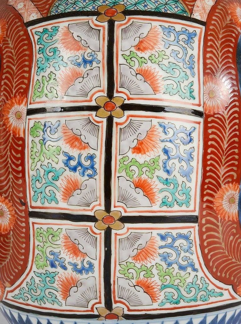 Large Pair Meiji Period Japanese Kutani Vases For Sale 4