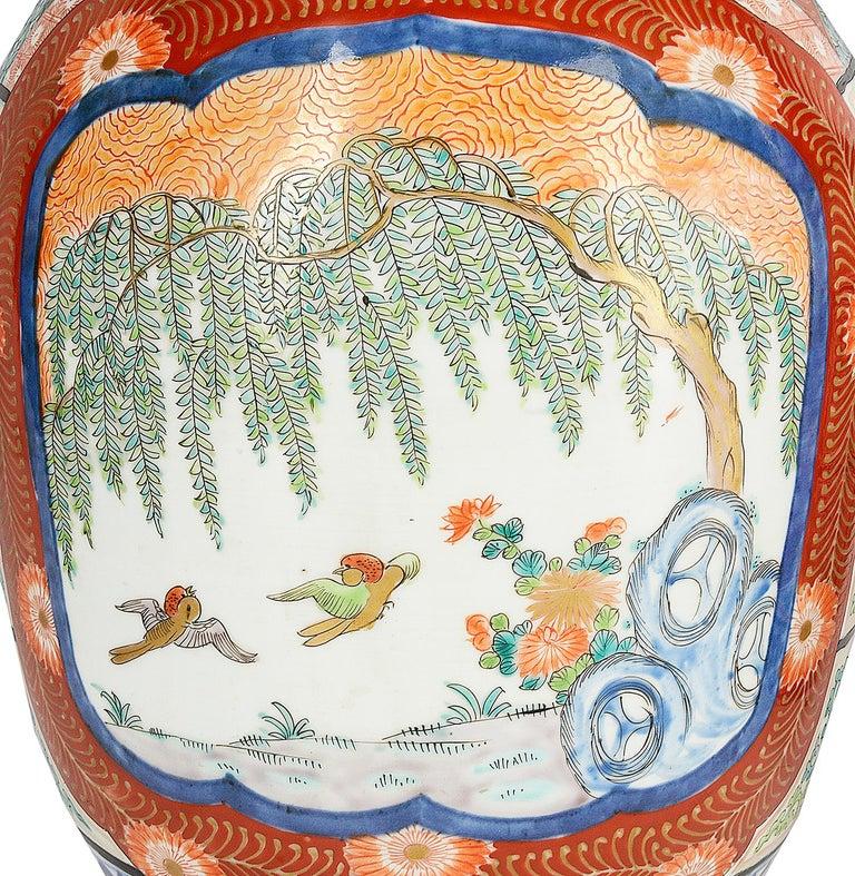 Hand-Painted Large Pair Meiji Period Japanese Kutani Vases For Sale