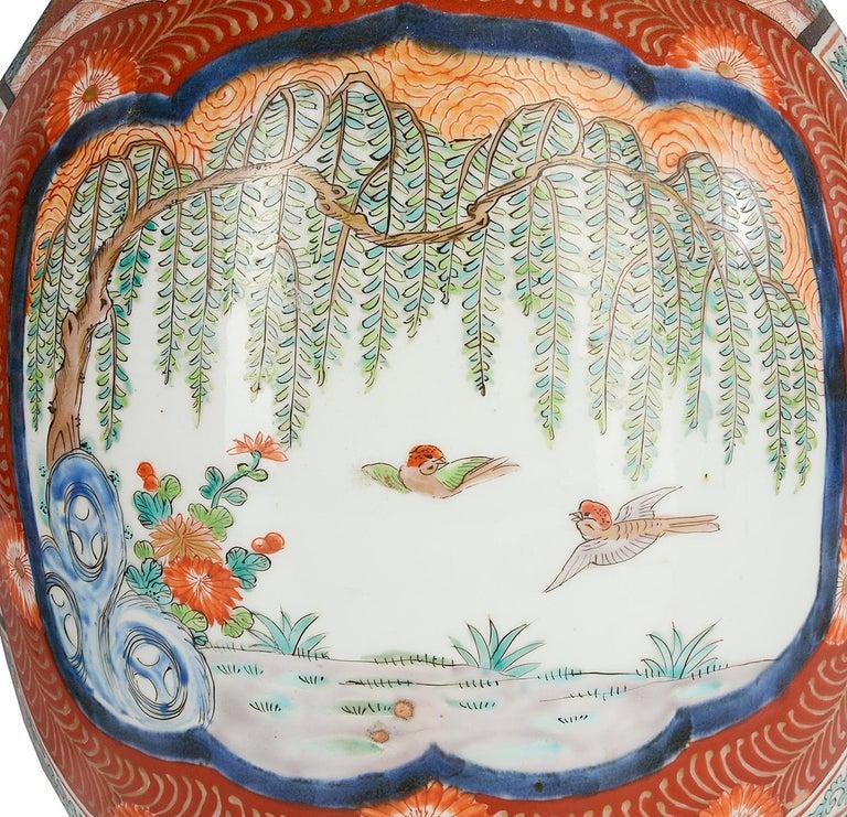 Large Pair Meiji Period Japanese Kutani Vases For Sale 1