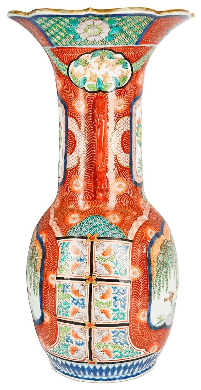 Large Pair Meiji Period Japanese Kutani Vases For Sale 2