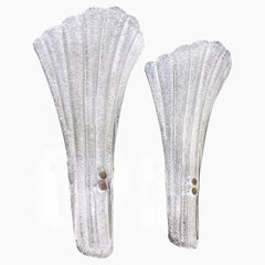 Large Pair Murano Glass Fluted Leaf Wall Sconces