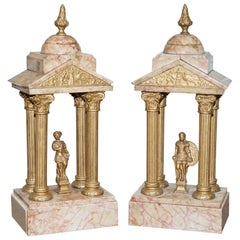 Large Pair of 1800s Roman Antique Grand Tour Marble Sculptures Statues Very Old