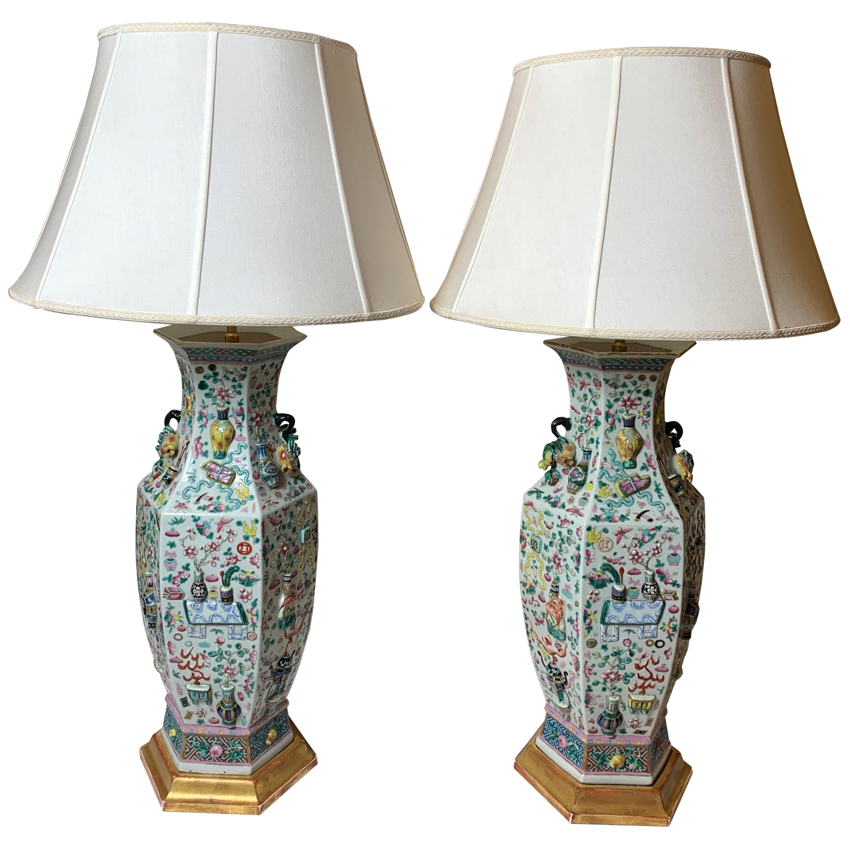 Large Pair of 1820s Chinese Export Porcelain Lamps