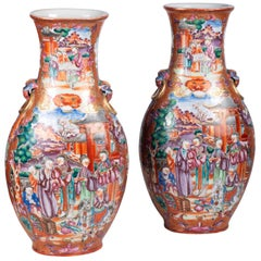 Large Pair of 18th Century Chinese Export Mandarin Vases