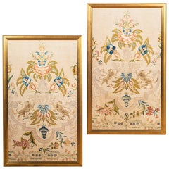 Large Pair of 18th Century Continental Silk Needlework Pictures