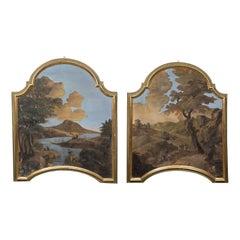 Large Pair of 18th Century Overdoor Paintings