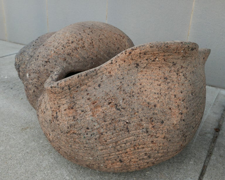 Cast Large Pair of 1930s Terracotta Shell Planters For Sale