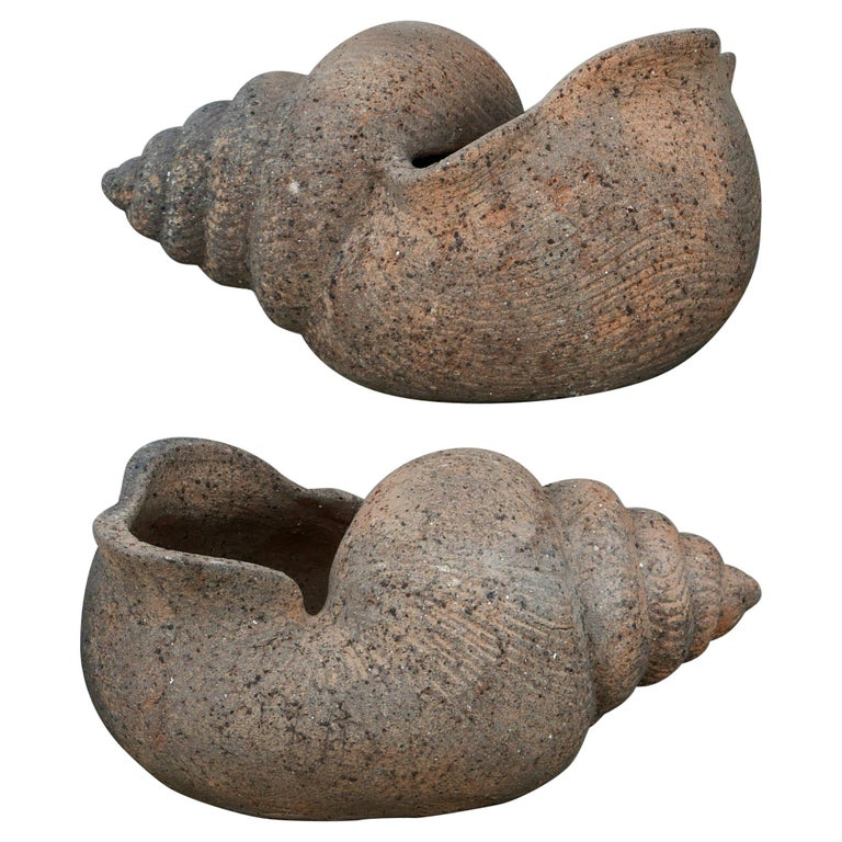 Large Pair of 1930s Terracotta Shell Planters For Sale