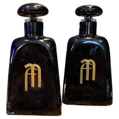 Large Pair of 1950s Paolo Venini Murano Glass Bottles