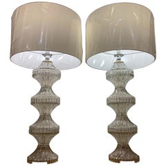 Large Pair of 1960s Italian Glass and Chrome Table Lamps