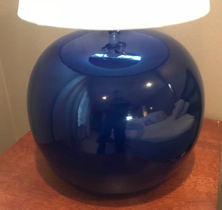 Mid-Century Modern Large Pair of 1960s Portuguese 1970s Cobalt Blue Pottery Table Lamps For Sale