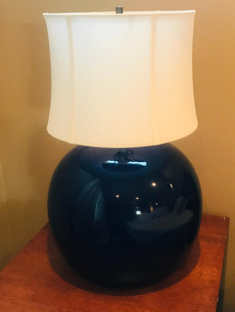 Large Pair of 1960s Portuguese 1970s Cobalt Blue Pottery Table Lamps In Good Condition For Sale In New York, NY