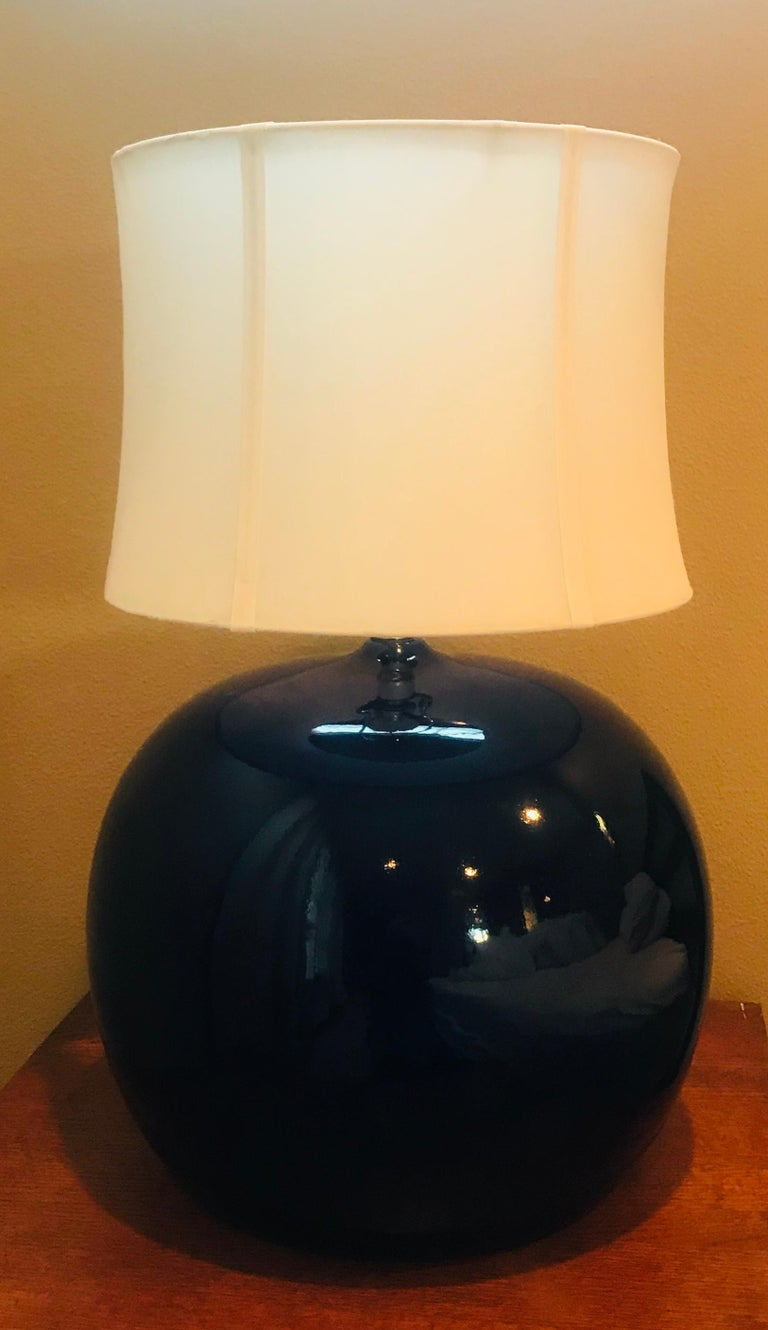 Late 20th Century Large Pair of 1960s Portuguese 1970s Cobalt Blue Pottery Table Lamps For Sale