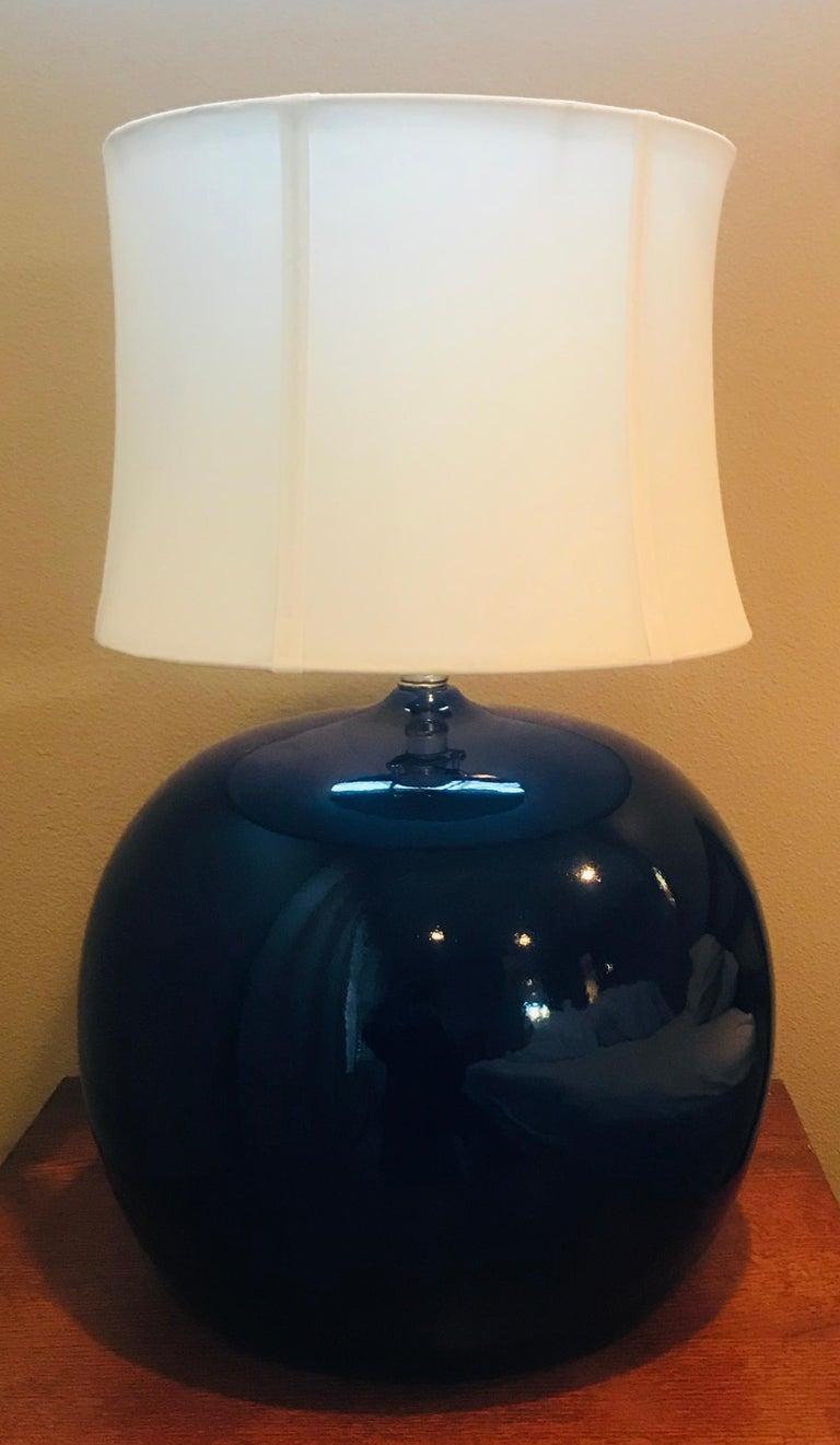 Ceramic Large Pair of 1960s Portuguese 1970s Cobalt Blue Pottery Table Lamps For Sale
