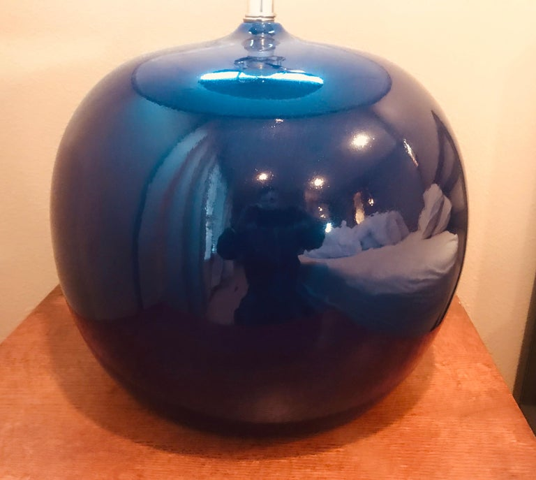 Large Pair of 1960s Portuguese 1970s Cobalt Blue Pottery Table Lamps For Sale 1