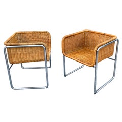 Large Pair of 1970s Chrome and Rattan Cube Club Chairs