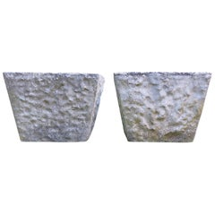 Large Pair of 1970s Square Concrete Garden Planters Plant Pots