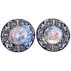 Large Pair of 19th Century Allegorical Italian Faience Wall Chargers