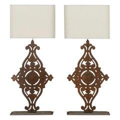 Large Pair of 19th Century Balustrade Lamps