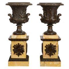 Large Pair of 19th Century Bronze Neoclassical Urns