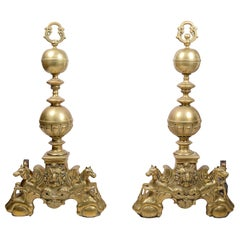 Large Pair of 19th Century Classical Brass Andirons or Firedogs