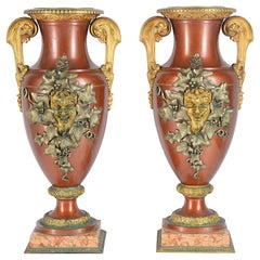 Large Pair of 19th Century Classical Bronze Urns