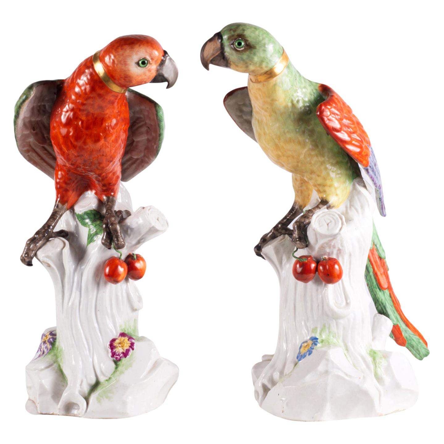 Large Pair of 19th Century Dresden Porcelain Parrots