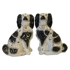 Large Pair of 19th Century English Staffordshire, Black and White Spaniels