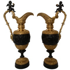 Large Pair of 19th Century French Bronze and Gilt Bronze Ewers