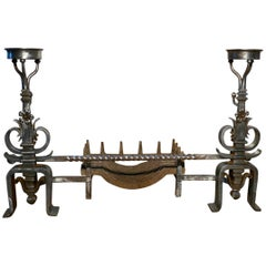 Large Pair of 19th Century French Iron Andirons or Fire Dogs