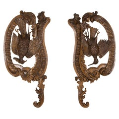 Large Pair of 19th Century French Oak Hunting Trophy Plaques of Dead Game Birds