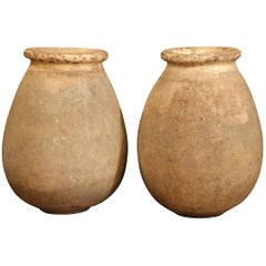 Large Pair of 19th Century French Terracotta Olive Jar from Provence