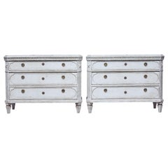 Large Pair of 19th Century Gustavian Inspired Swedish Commodes