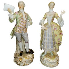 Large Pair of 19th Century Meissen Porcelain Figures of Lovers Singing