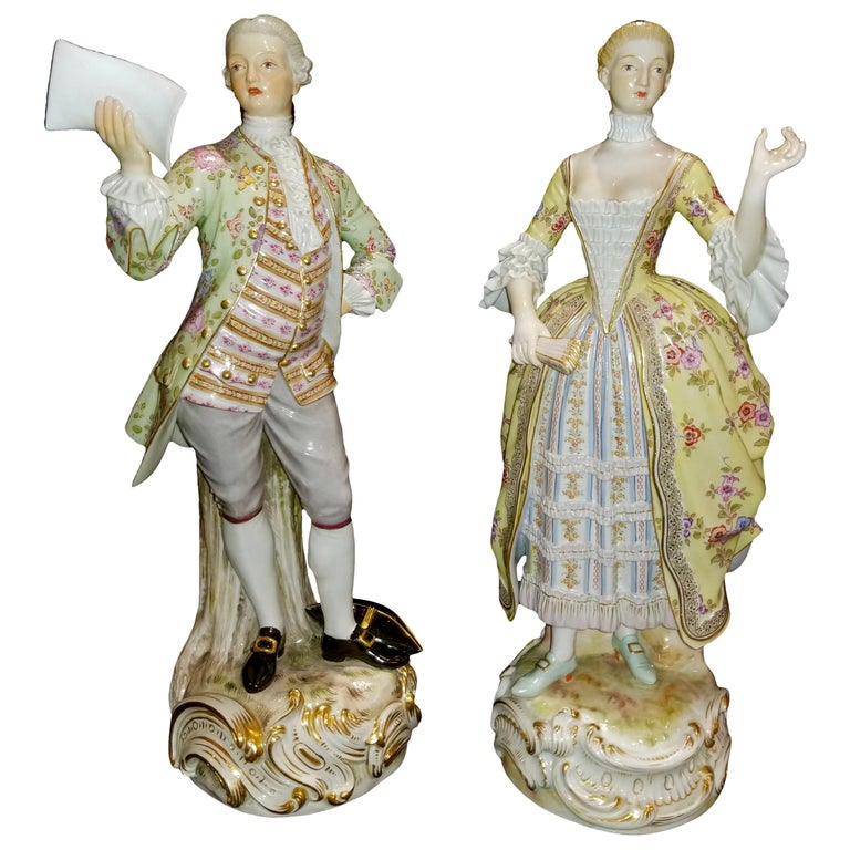 Large Pair of 19th Century Meissen Porcelain Figures of Lovers Singing For Sale