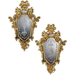 Large Pair of 19th Century North Italian Gilt Girandoles