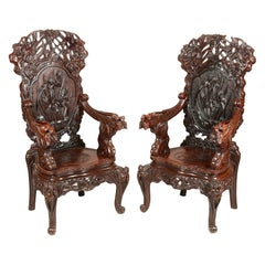 Large Pair of 19th Century Oriental Armchairs