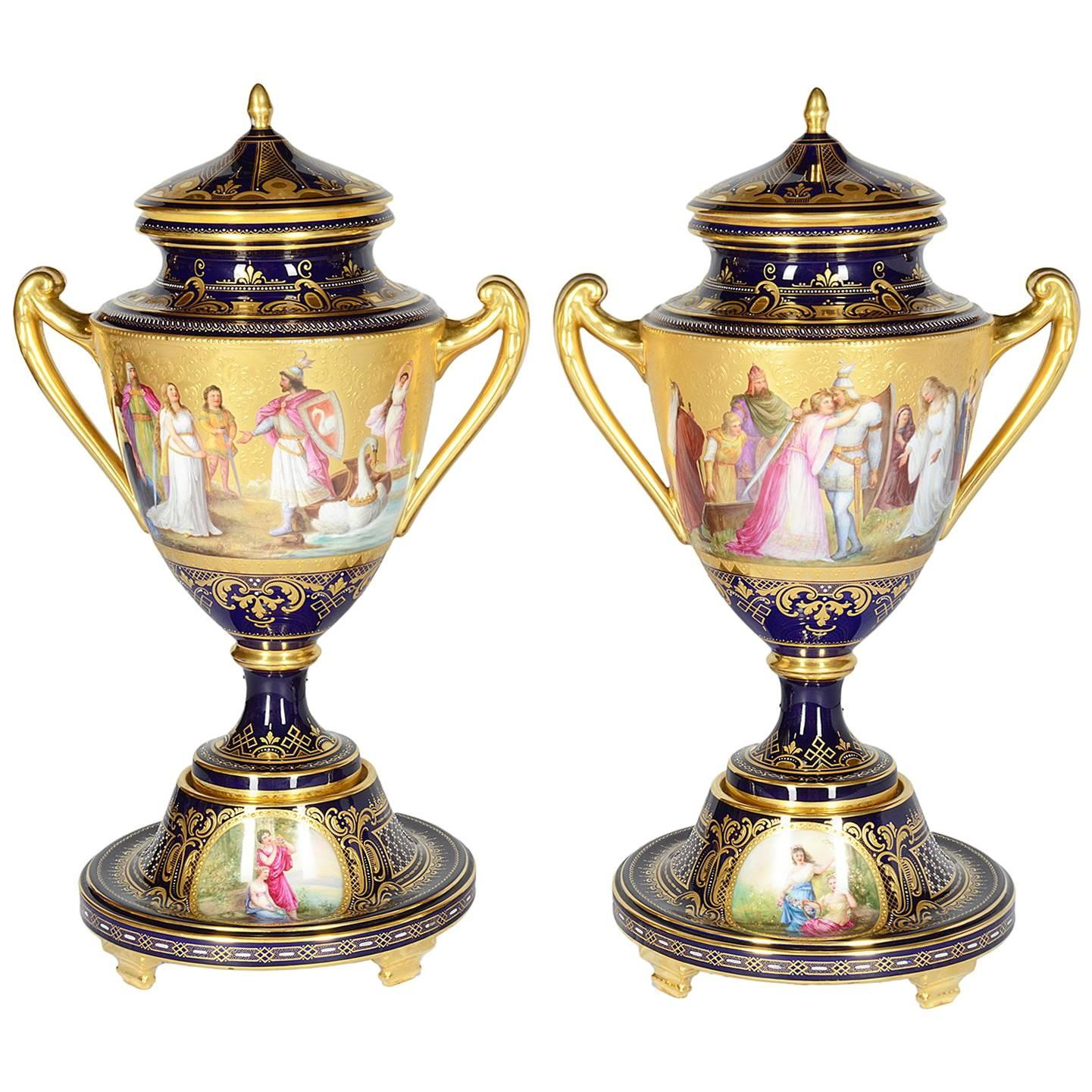 Large Pair of 19th Century Vienna Porcelain Urns