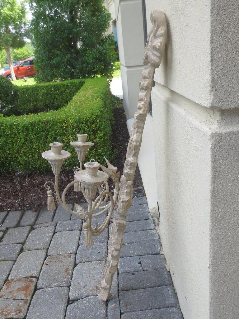 Hand-Painted Large Pair of 20th Century Italian Old White Sconces For Sale