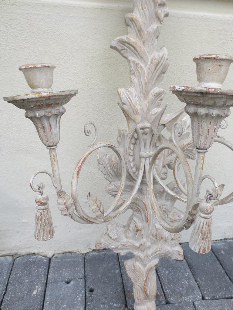 Wood Large Pair of 20th Century Italian Old White Sconces For Sale