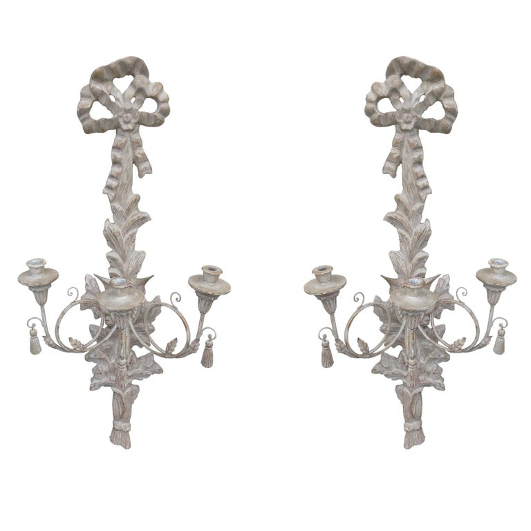 Large Pair of 20th Century Italian Old White Sconces For Sale