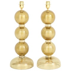 Large Pair of 23k Gold Infused Sphere Murano Glass Lamps, Italy