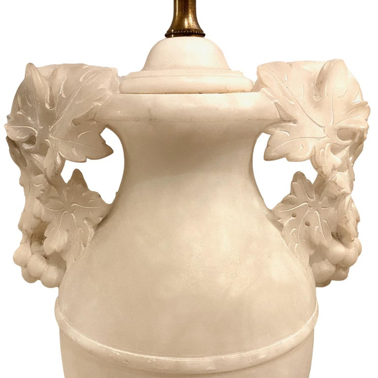 French Large Pair of Alabaster Table Lamps For Sale