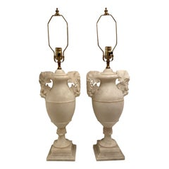 Large Pair of Alabaster Table Lamps